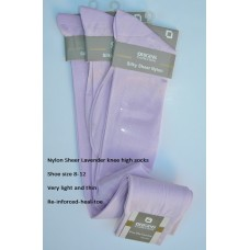 Lavender /  Light purple sheer nylon knee high dress socks-Size 8-12