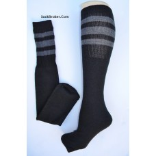 "19""  Black tube socks with three Charcoal  gray stripes knee high socks"
