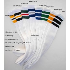 "Special!  8 pairs of 23""  Assorted retro 3 Stripe Tube Knee High Socks"