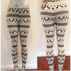 Woven White Reindeer Soft Viscose Blend Leggings