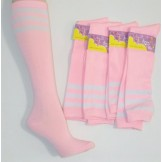 Cotton Pink Knee High Socks 3 White..
