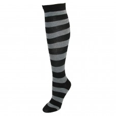 Black and Charcoal Striped Knee High Socks