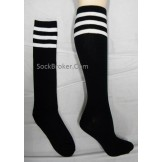 Black with white triple striped kne..