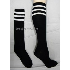 Sale!!!  Black and white triple striped knee high socks