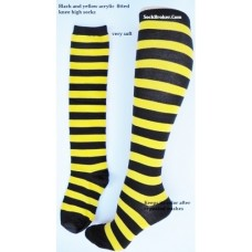 Thick Acrylic black and yellow stripe knee high socks by Music Legs