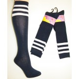 Cotton Navy Knee High Socks 3 White..