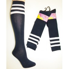 Cotton Navy Knee High Socks 3 White Stripes