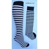 Opaque black and white striped knee..