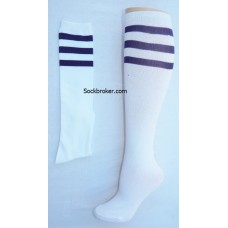 White / dark purple striped knee high socks