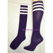Purple and white triple striped knee high socks