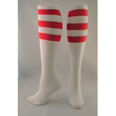 White with red Triple striped knee high socks