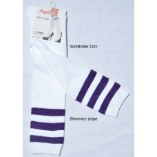 Sale!! 6 White knee high socks with three purple shimmery stripes