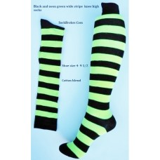 Neon Green and black wide thick striped knee high socks