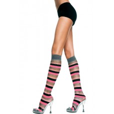 Spandex and fishnet multiple stripes knee high by music legs