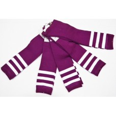 Light purple and white triple striped knee high socks