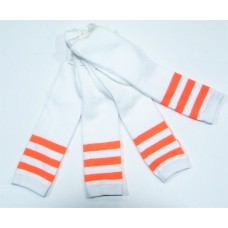 White with neon orange triple striped knee high socks