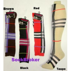 Sale  6 Pairs Of Plaid knee high socks by Everbright
