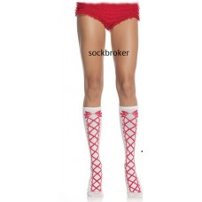 White Acrylic with red faux lace up front knee high socks by leg Avenue