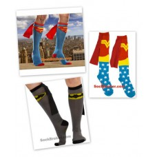 Caped Super hero knee high socks (Robin, Wonder Woman, Superman and Batman)