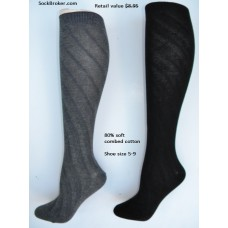 Sockbroker swirl solid cotton knee high socks
