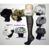 Fur trim cotton knee high socks siz..