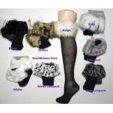 Fur trim cotton knee high socks siz..