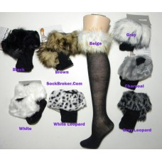 Fur trim cotton knee high socks size 4-10