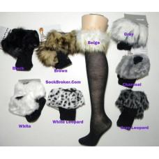 Fur trim cotton knee high socks size 4-10