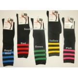 Shimmery 3 stripe black knee high s..