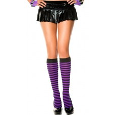 Opaque black and purple striped knee high socks