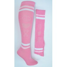 "Pink Cancer Awareness knee high socks  ""peace, ribbon heart"""