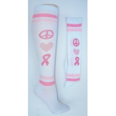 "White and pink pink Cancer Awareness knee high socks  ""peace, ribbon heart"""