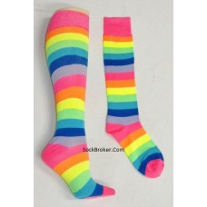 Pink rainbow striped knee high socks