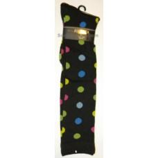 Julietta Black knee high socks with multi-color polkadots