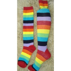 Rainbow striped knee high socks
