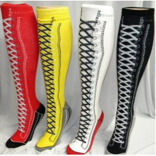 Cotton knee high sneaker socks in 4 colors