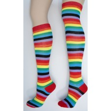 Thin Striped Rainbow Knee High Socks