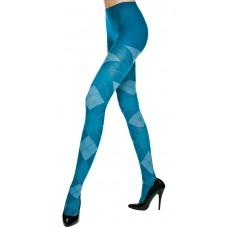Music Leg  Blue White Argyle Tights