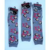 Gray knee high socks with monkeys b..