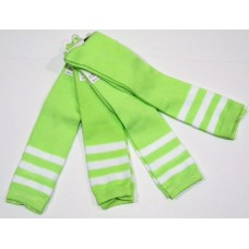 Neon green with white triple striped knee high socks