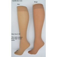Beige color opaque thin nylon knee high trouser socks