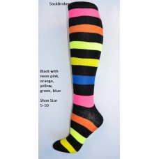 Black with Multi-color neon stripes knee high socks
