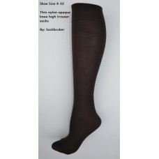 Chocolate brown opaque thin nylon knee high trouser socks