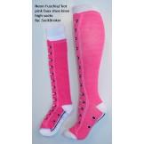 Neon fuchia-hot pink faux shoe knee..