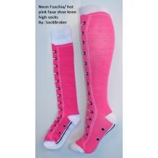 Neon fuchia-hot pink faux shoe knee high socks
