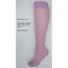 Lavender opaque thin nylon knee high trouser socks