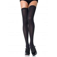 Opaque Black Thigh High Socks