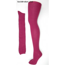 Fuschia cotton woven ribbed over the knee thigh high socks