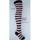 Black-baby pink cotton thick stripe..
