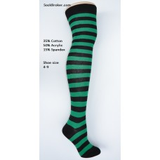 Black-Kelly green cotton thick striped over the knee thigh high socks